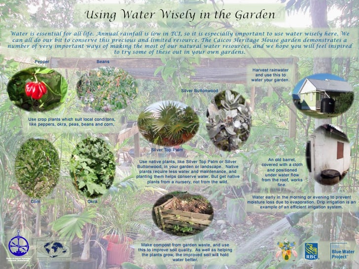 One of the interpretation boards installed in the model garden on Providenciales, providing information on wise water use and tradition plants which require fewer natural resources to thrive in TCI's dry climate.