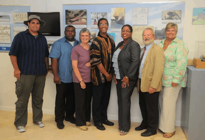 Presenters and some key personnel from linked projects; left to right: Bryan Naqqi Manco, TCI Dept of Environment and Maritime Affairs; Edgar Howell, Director of Education, TCI; Ann Pienkowski, UKOTCF; David Bowen, Director of Culture, TCI; Sanfra Foster, Country Manager, RBC TCI; Dr Mike Pienkowski, UKOTCF; Patricia Saxton, TCI National Museum Foundation; Copyright: RBC Royal Bank