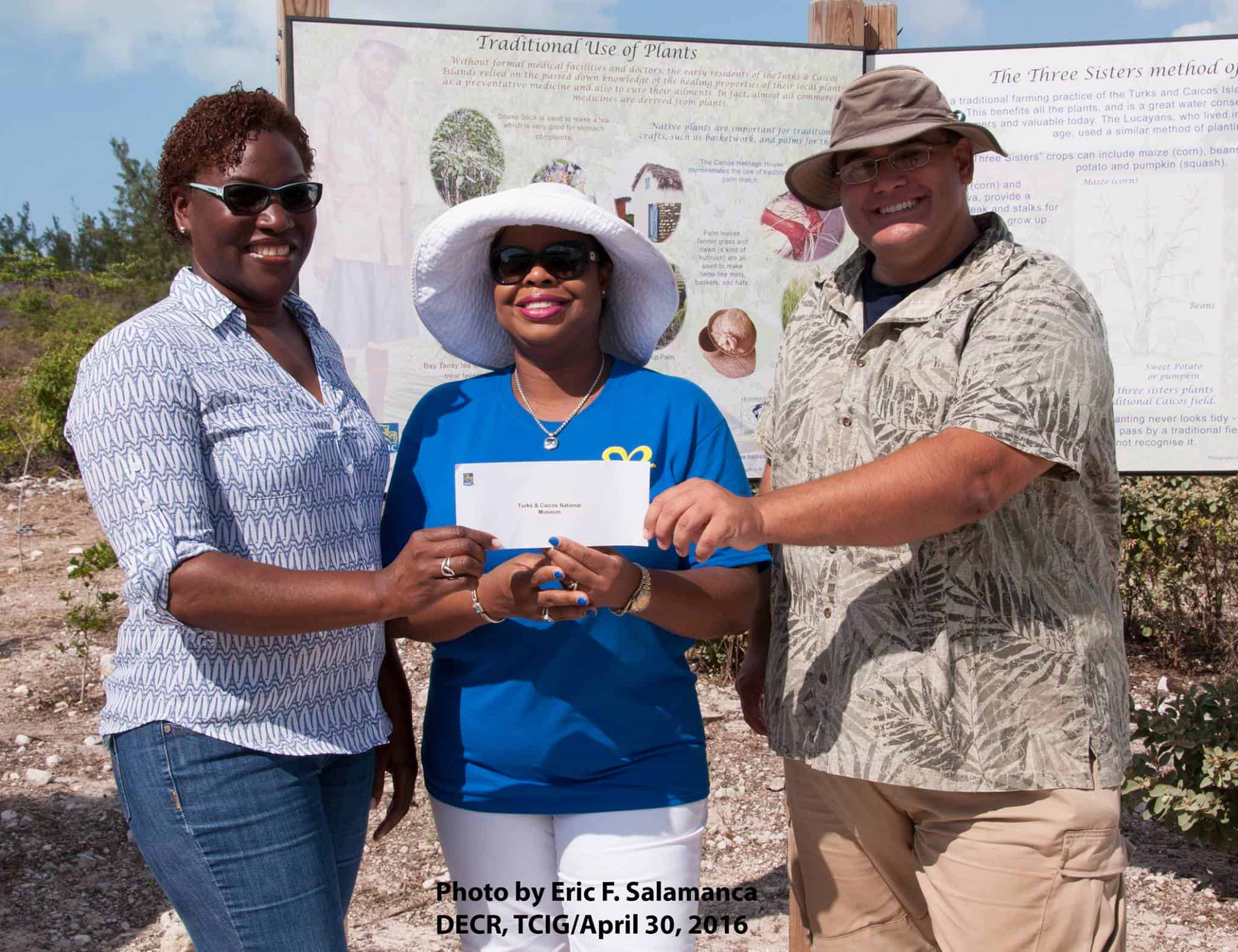 From left: Candianne Williams (Manager, Turks & Caicos National Museum, Providenciales), Sanfra Foster (Manager, Royal Bank of Canada, Providenciales) and Bryan Naqqi Manco (DECR and TCNM). Photo: Dr Eric Salamanca, DECR
