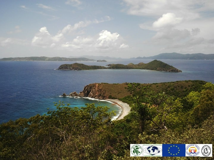 Stunning views over the British Virgin Islands (inset) Project partners; Copyright: NPTVI