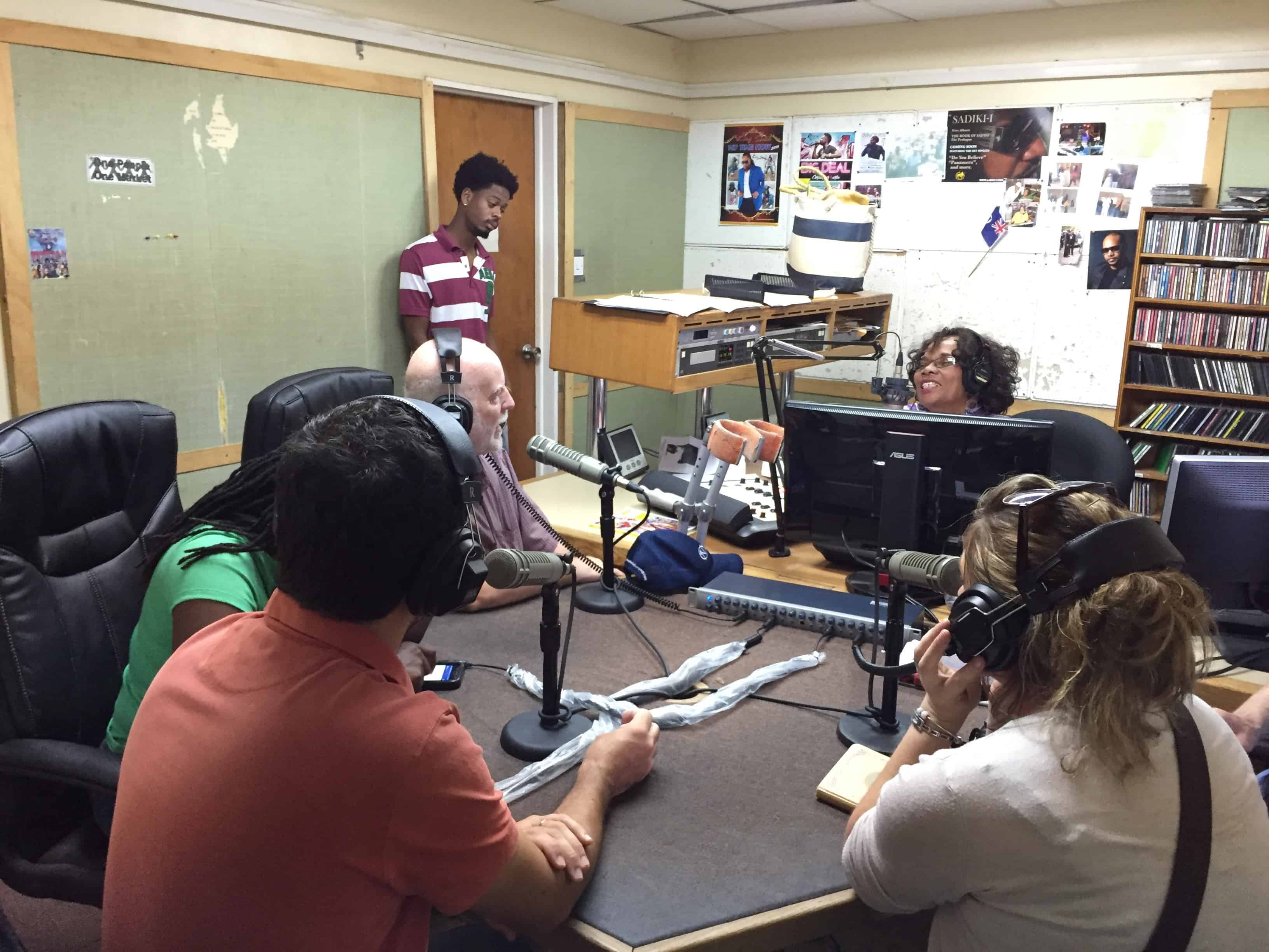 The UKOTCF/Montserrat National Trust/Montana State University project team on one of its visits with Rose Willock, on the Saturday morning Culture Show on Montserrat Radio ZJB. Copyright: UKOTCF