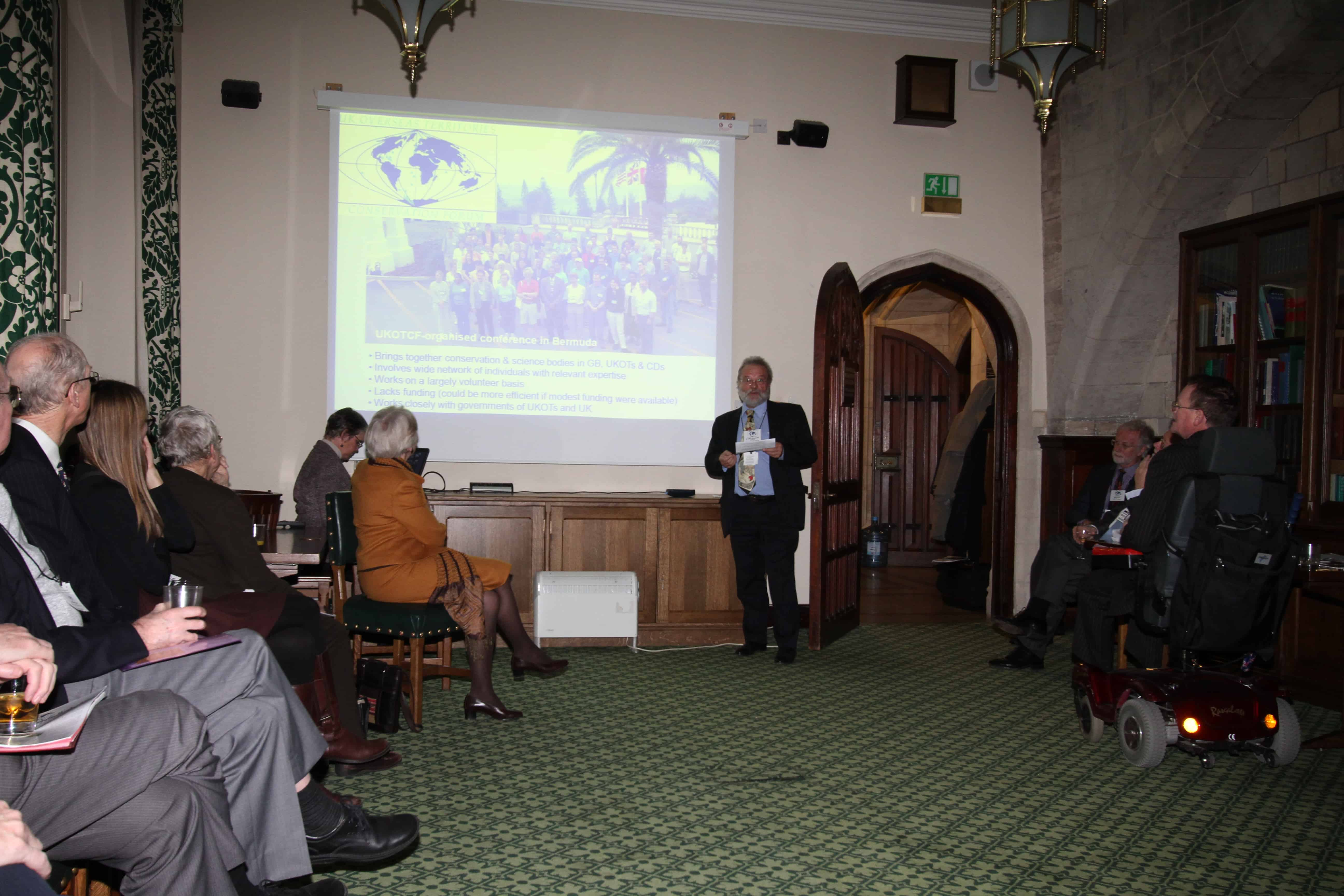 Dr Mike Pienkowski addresses Parliamentarians at UKOTCF/APPG Reception. Copyright: UKOTCF