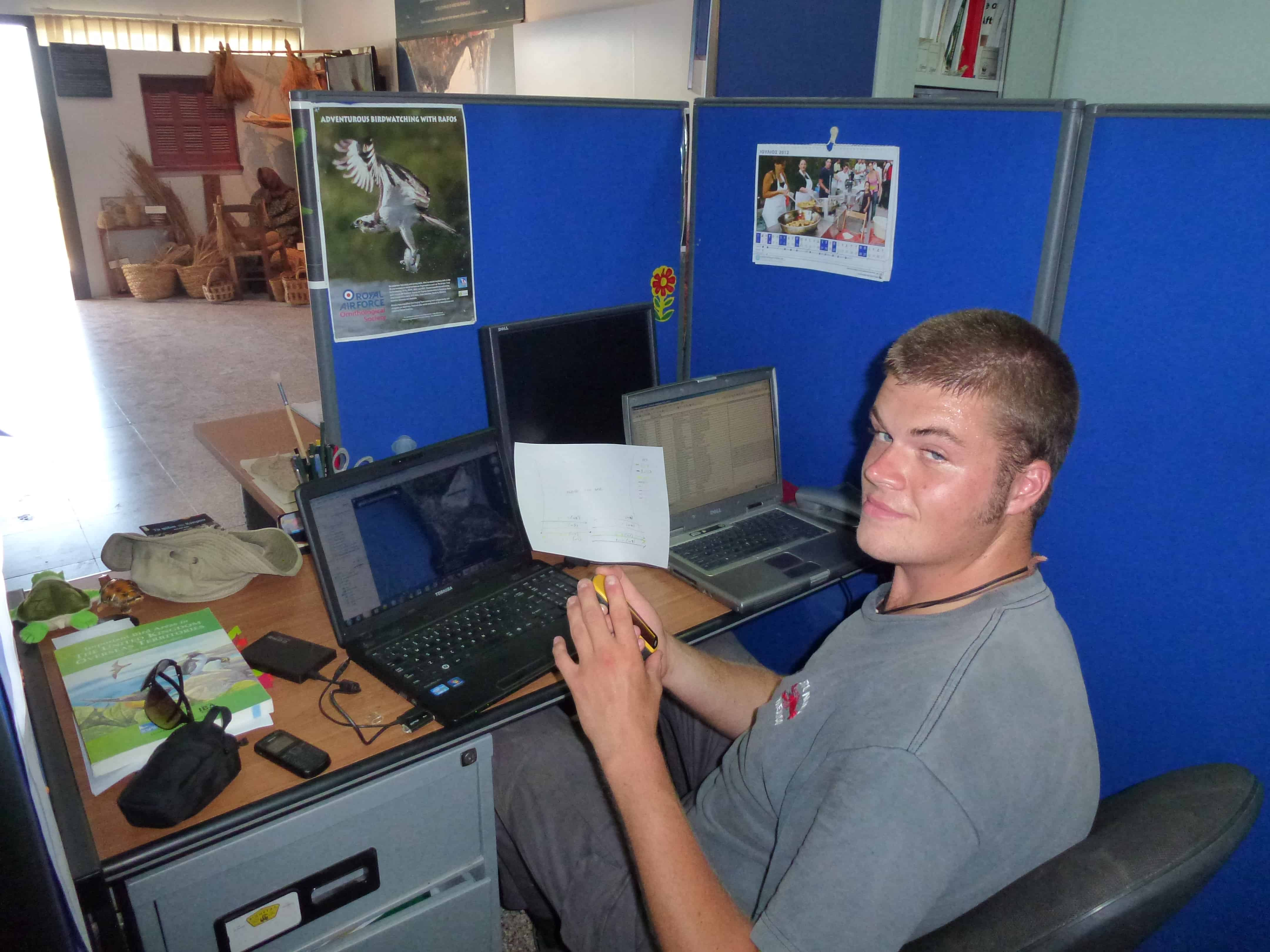 Felix assists with administration at the Akrotiri Environmental Education and Information Centre in the Cyprus Sovereign Base Areas, where he spent the summer of 2012 after obtaining a scholarship from the Peter Kirk Memorial Fund; Copyright: Felix Driver