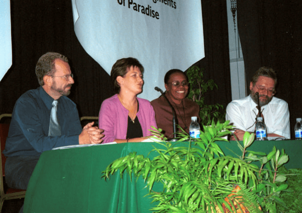 John Cortés (General Secretary, GONHS), Sara Cross (Director for Development, UKOTCF), Sheila Brown Brathwaite (Permanent Secretary, British Virgin Islands Ministry of Natural Resources and Labour) and Mike Pienkowski (Chairman, UKOTCF). Copyright: UKOTCF