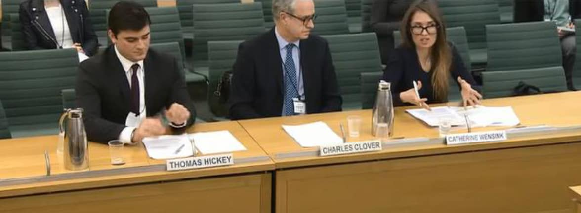 Catherine Wensink, UKOTCF Manager and Senior Conservation Officer (now Executive Director), gives evidence to the House of Commons Environmental Audit Committee Inquiry into Marine Protected Areas, January 2017, while fellow witnesses Charles Clover, Executive Director, BLUE Marine Conservation, and Thomas Hickey, Pew Charitable Trusts, look on. Copyright:parliamentlive.tv