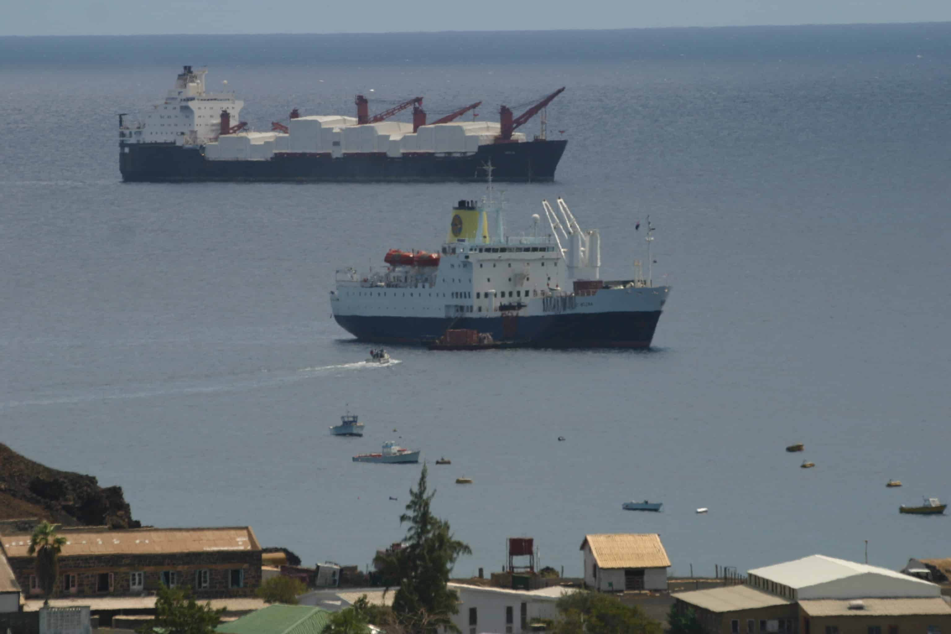 A sight from the (recent) past: RMS St Helena and a US naval supply ship in Ascension's harbour. Copyright: Dr Mike Pienkowski