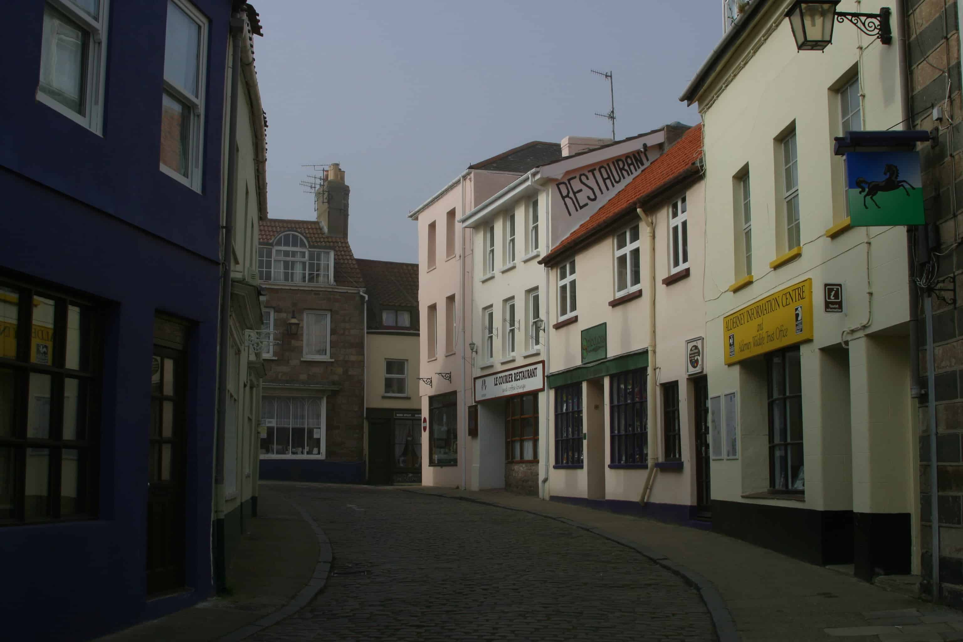 One of the main streets in St Anne, Alderney's town. Copyright: Dr Mike Pienkowski