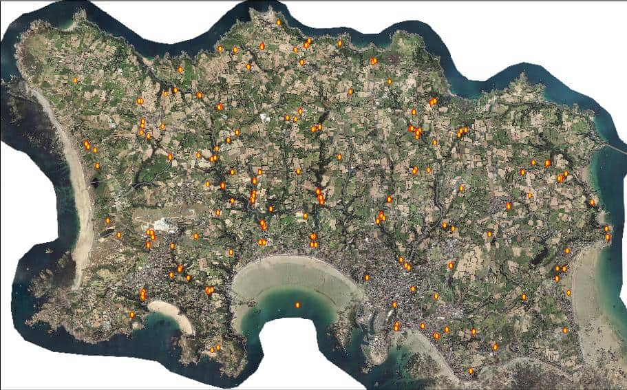 Ariel image of distribution of Japanese knotweed on Jersey using the Plant tracker app; Copyright: Department of Environment Jersey