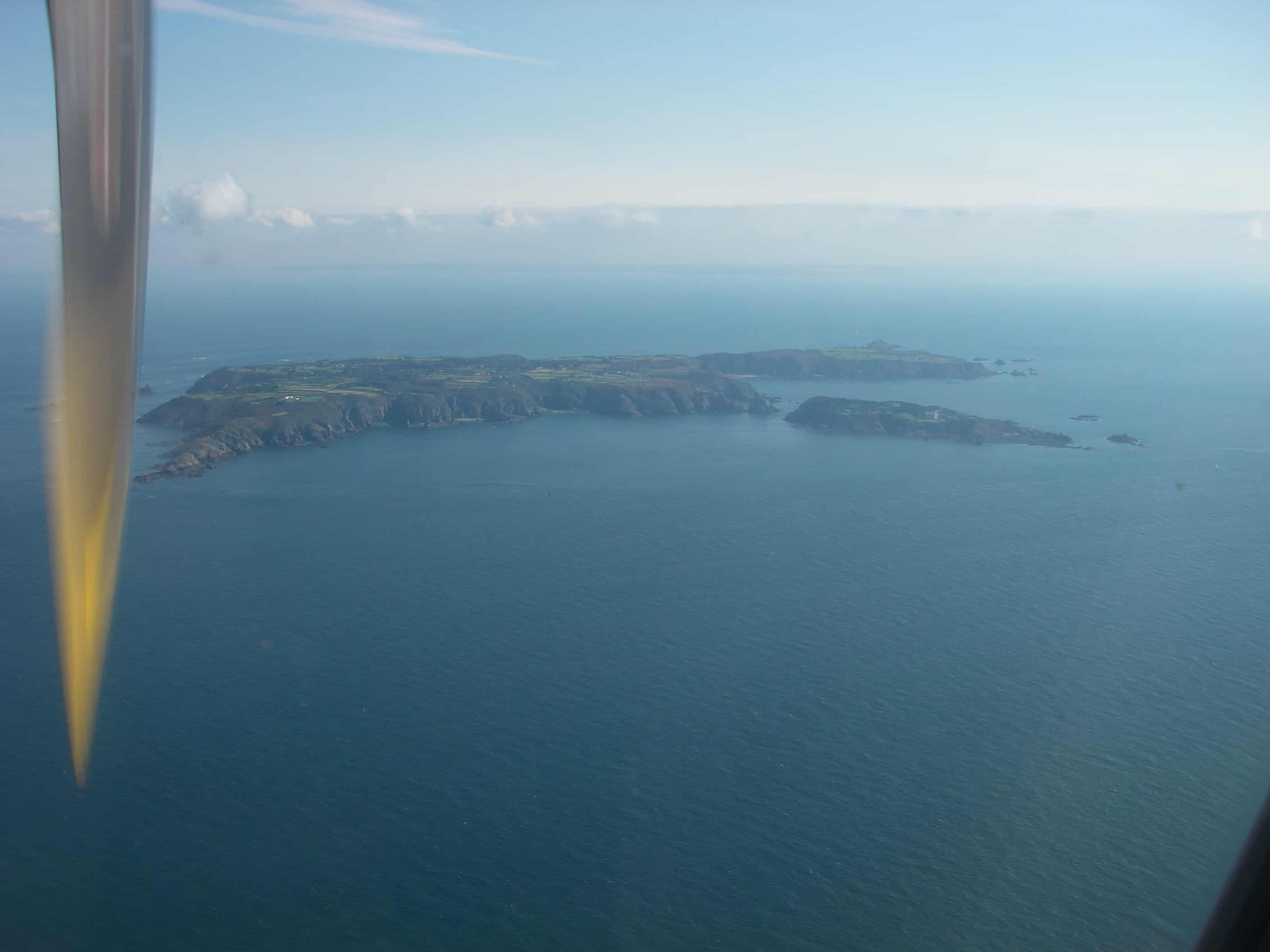 Sark from the air, with northern Great Sark to the left and Little Sark to the right, with Brecqhou in front to the right; Copyright: Dr Mike Pienkowski