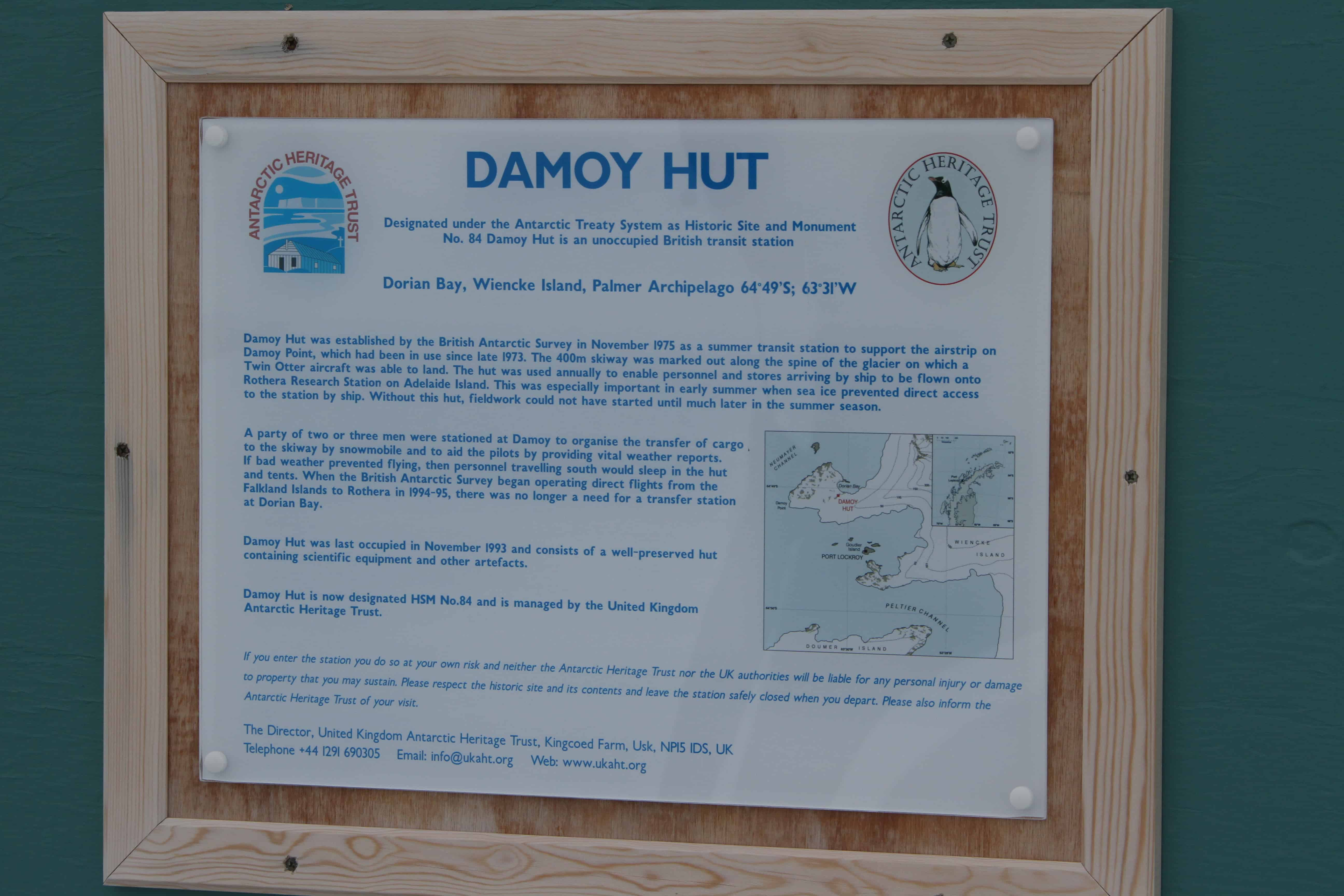 Information sign at Damoy Hut; Copyright: Dr Mike Pienkowski