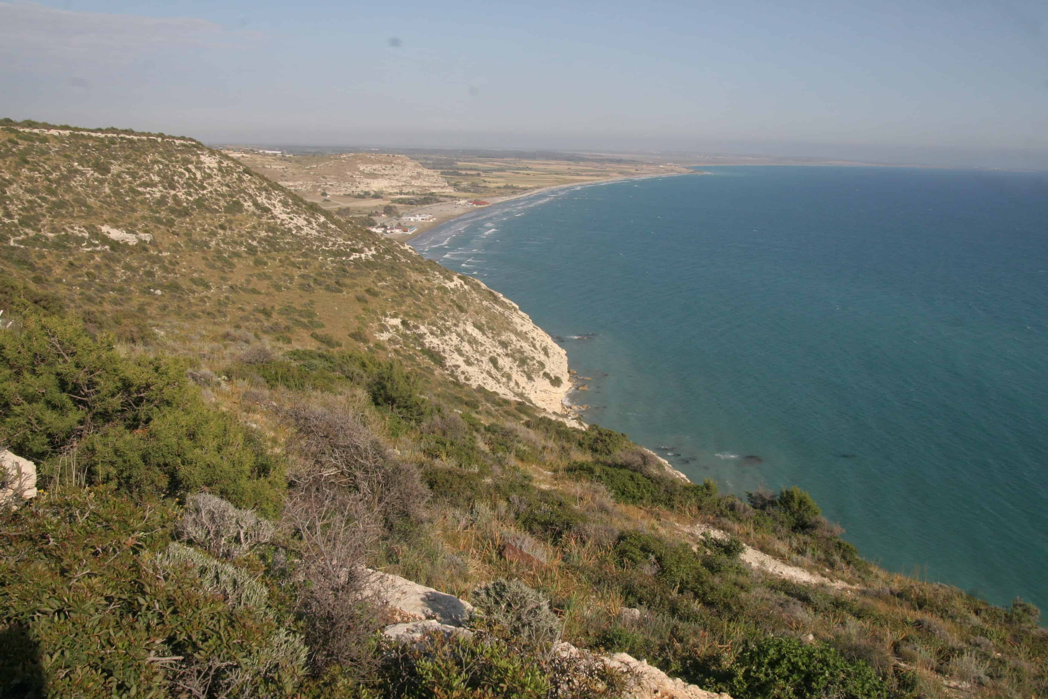 View from the cliffs near Episkopi, in the WSBA, towards the low Akrotiri Peninsula; Copyright: Dr Mike Pienkowski