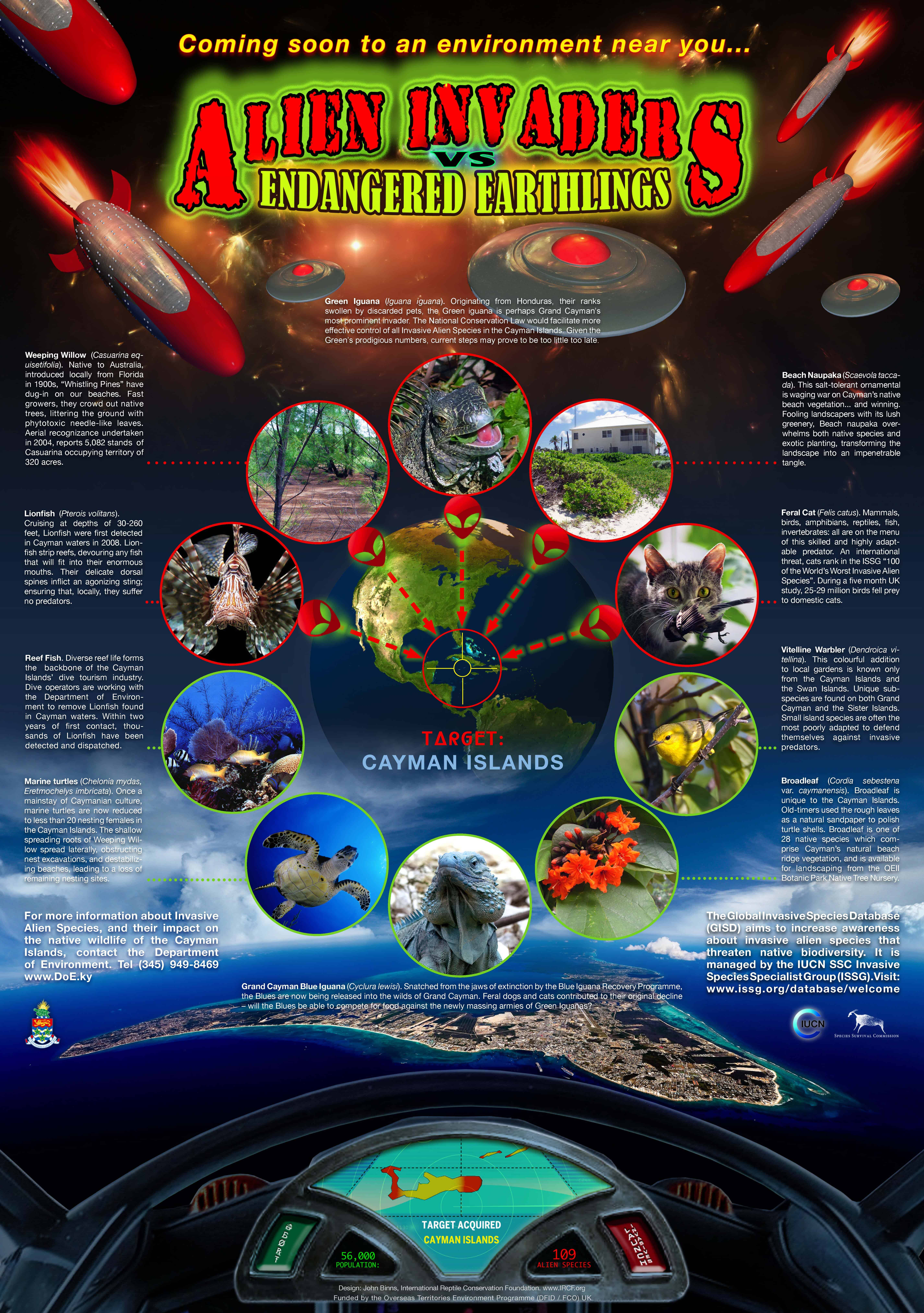 Poster template produced as part of a cross territory project, which to raise public awareness of invasive species, and the threats they pose to native species and ecosystems- this example is of the Cayman Islands; Copyright: Cayman DoE.