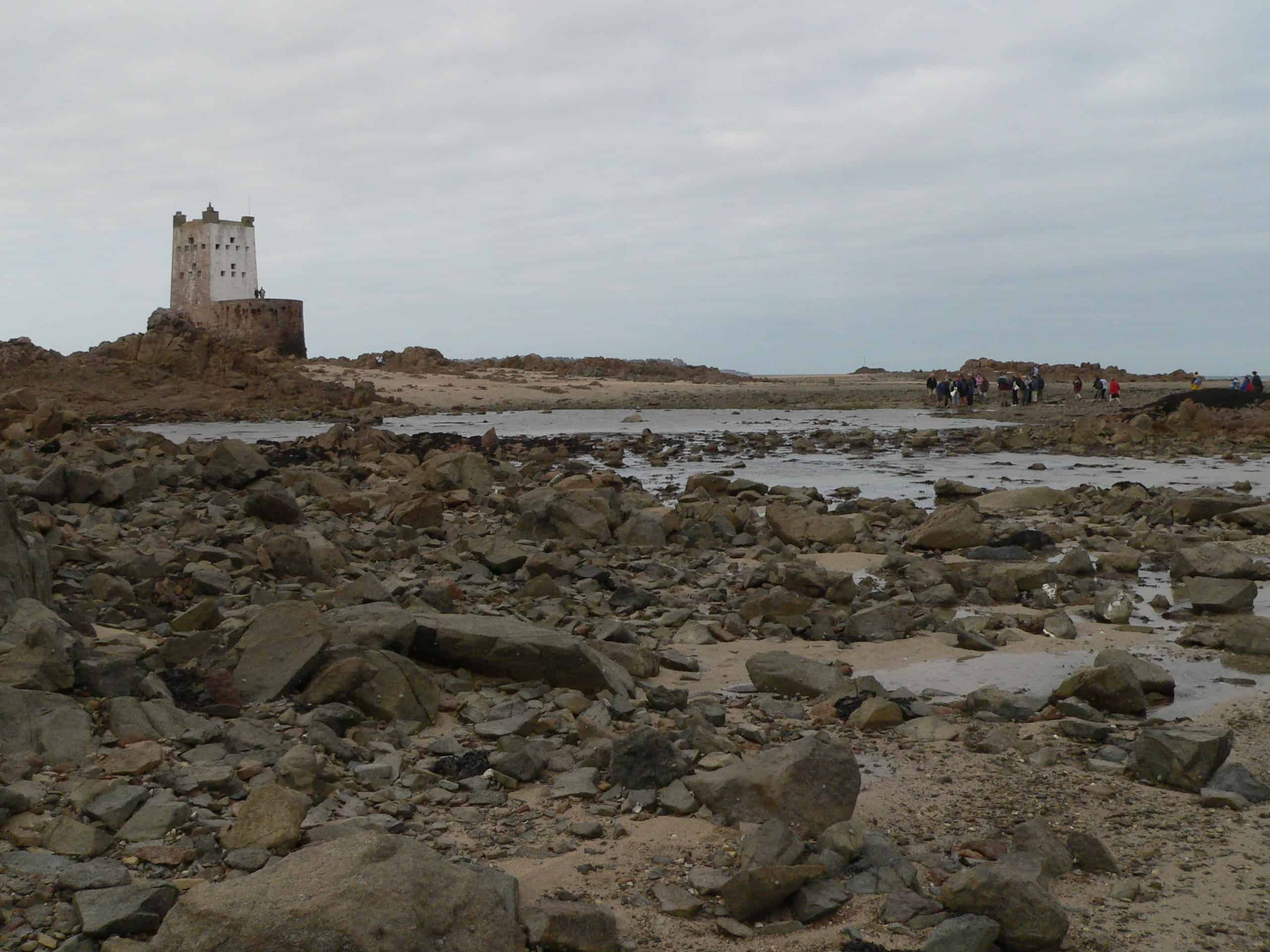 Within the South-east Coast of Jersey Wetland of International Importance: after a long walk at low-water, visitors reach one of the tiny islets which hold a small fort from the time of the Napoleonic Wars; Copyright: Dr Mike Pienkowski