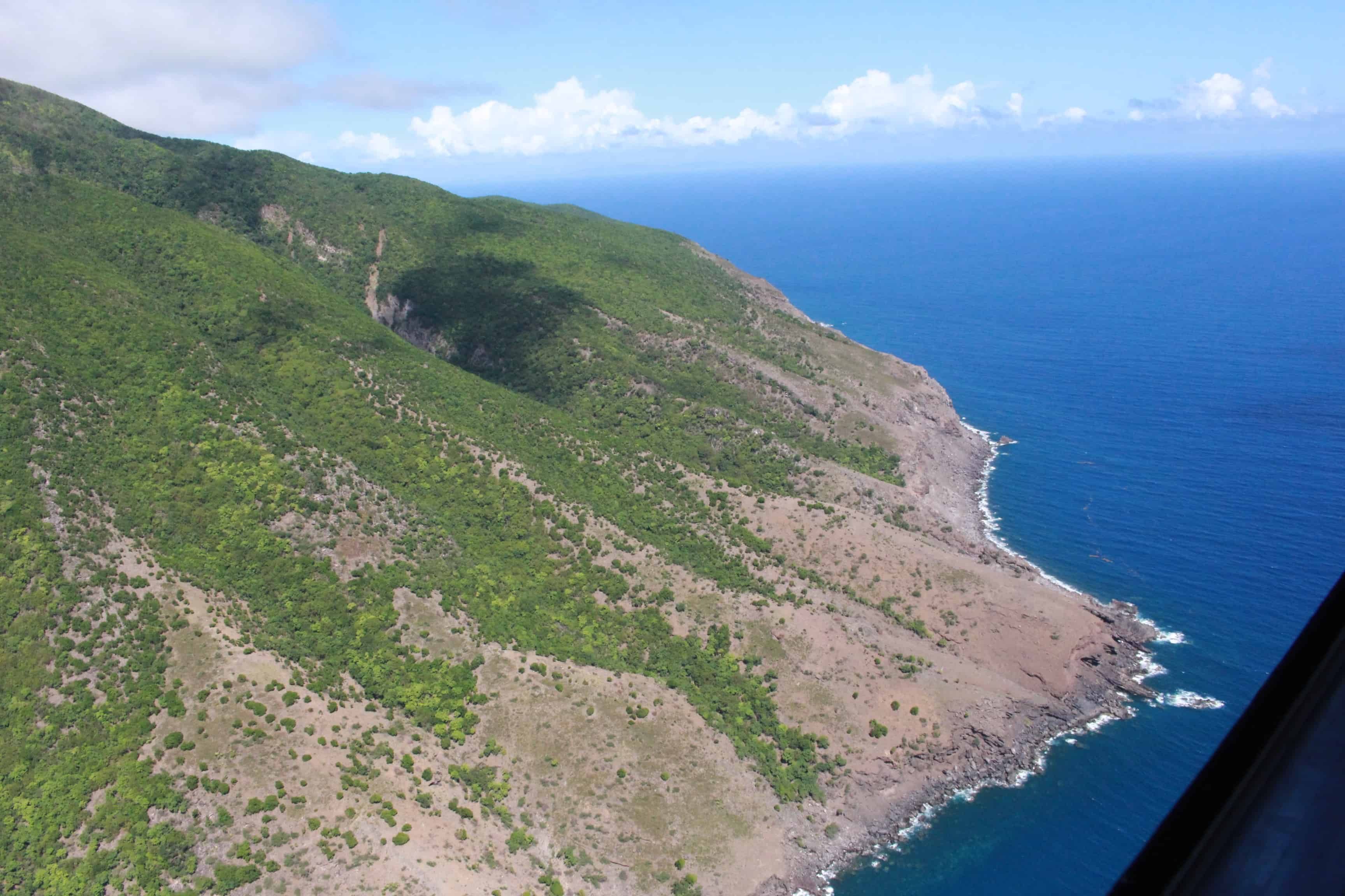 Areas in the south of Montserrat, particularly those close to the coast, are showing signs of erosion caused by the presence of feral livestock, mostly goats; Copyright: UKOTCF